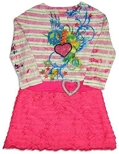 Lipstik Girls's - Little Girls's Long Sleeve Striped Dress, Pink, White 24291-4 - Lipstik Girls Clothes
