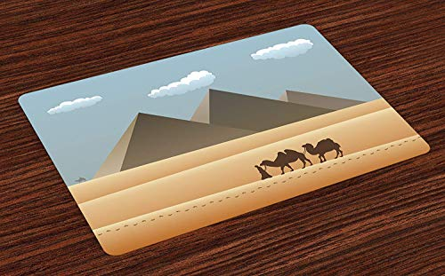 Egyptian Non-Slip Doormats Welcome Mat Accent Area Rug, Safari on Sahara Desert with Camels Leaving Footprints with Silhouette of Pyramids, Indoor Bathroom Mat Floor Cover Mat,16'' x 24''