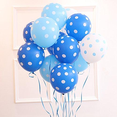Sopeace 100ps Blue Polka Dots Balloon 12