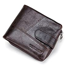 Contacts Mens Genuine Leather Pocket Wallet Zipper Coin Pocket Dark Brown