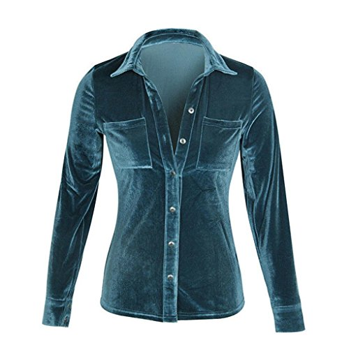 Elegant Sleeve Ladies Blouse Spring Dowm Collar Velvet Chic Shirts Turn Winter Fashion Blue Tops Solid Sweatshirts BURFLY Long Women v5wqvZ