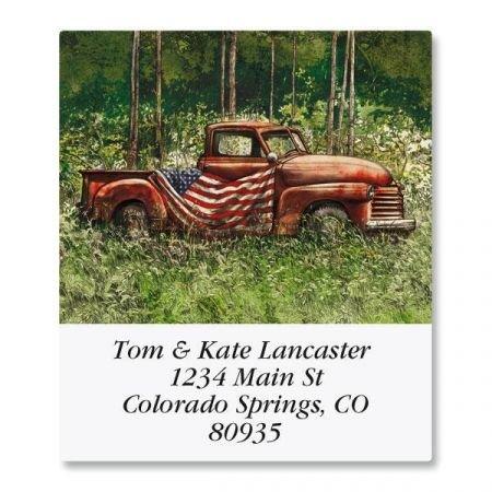 - Vintage Pride Square Patriotic Return Address Labels - Set of 144 1-1/2 x 1-3/4 Self-Adhesive, Flat-Sheet labels