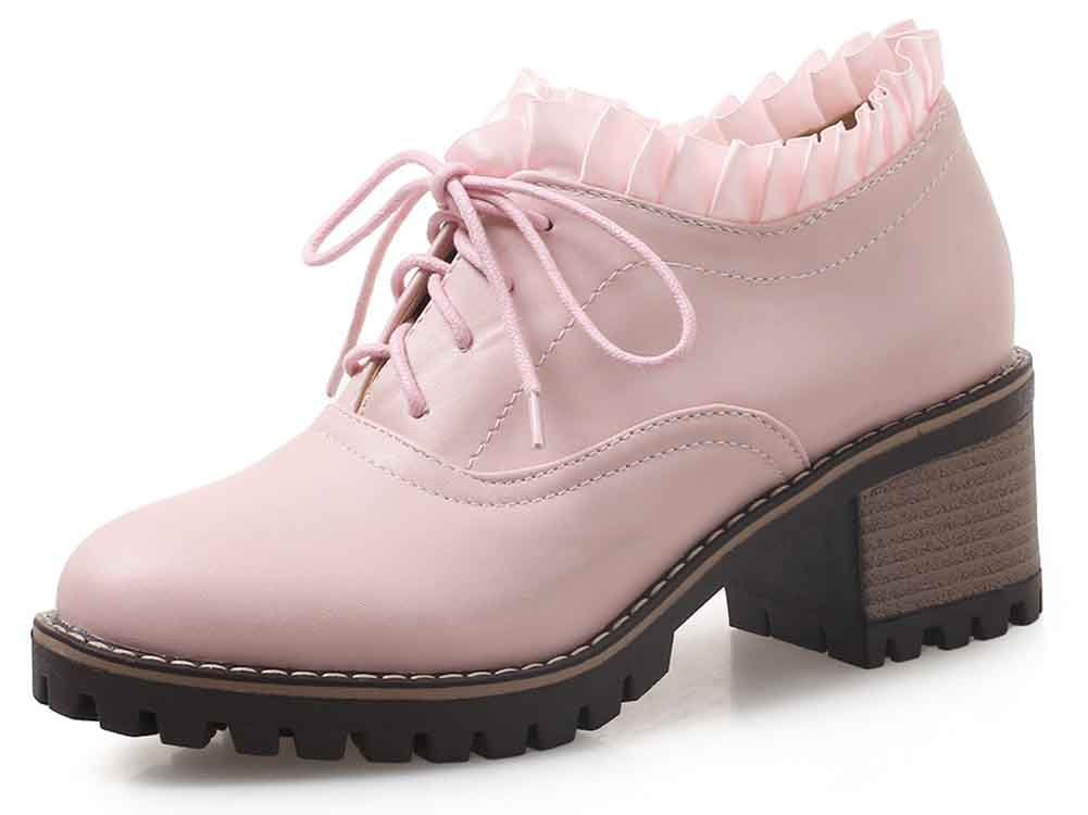 Aisun Women's Round Toe Ankle Boots - Elegant Middle Stacked Heels - Party Lace Up Short Booties (Pink, 8 B(M) US)