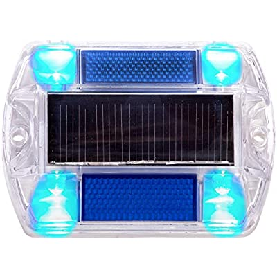 Blue Polycarbonate Solar Road Stud Path Deck Dock LED Light - Island Light Fixtures - .com