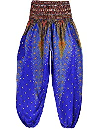 Thai Style Pants Blue Summer Beach Bohemian High Waist Harem Loose Women Trousers