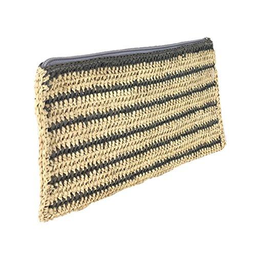 Striped Mar Sol Raffia Clutch Kylie Natural Crochet Tassel Grey Y Slim rOOAx1