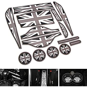 Glove Box Side Door Compartment iJDMTOY Soft Silicone Union Jack Style Cup Holder Coasters For 3rd Gen 2014-up MINI Cooper F56 3-Door, Black//Grey Center Console Mats For MINI Cooper