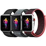 INTENY Sport Band Compatible with Apple Watch 42mm, Soft Lightweight Breathable Nylon Sport Loop, Strap Replacement for iWatch Series 3/2 / 1 (Pack of 3, 42mm)