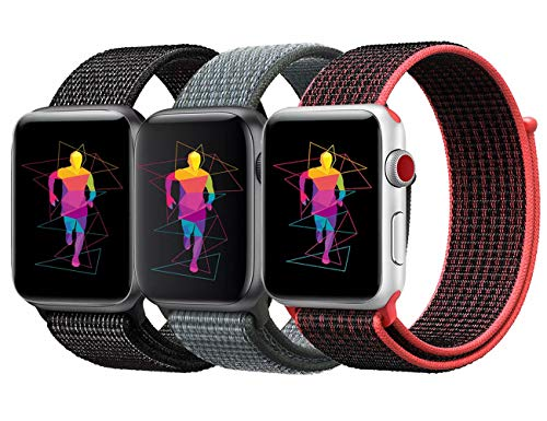 INTENY Sport Band Compatible with Apple Watch 44mm, Soft Lightweight Breathable Nylon Sport Loop, Strap Replacement for iWatch Series 4 (Pack of 3, 44mm)
