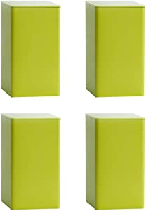 XGYUII Simple Rectangle Tinplate Tea Canister Loose Leaf Tea Tin 4 PC Set Airtight Food Dry Storage Container Coffee Sugar Granular Powder Products Box,Light Green