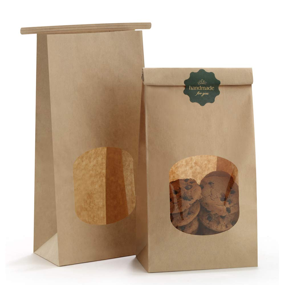Amazon Com Bagdream Bakery Bags With Window Small Kraft Paper Bags