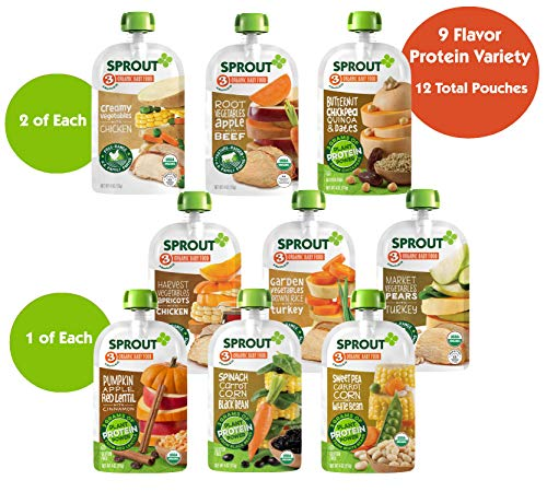 Sprout Organic Baby Food Stage 3 Protein Variety Sampler, 4 Oz Pouches, 12Count (Best Sprouts For Protein)