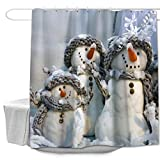 Snowman Shower Curtain Colorful Star L-Scarf Snowman Christmas Shower Curtain Made of 100% Polyester Fabric Machine Washable Waterproof Rust Proof Grommets with Hooks 72