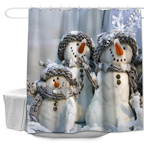 Colorful Star L-Scarf Snowman Christmas Shower Curtain Made of 100% Polyester Fabric Machine Washable Waterproof Rust Proof Grommets with Hooks 72