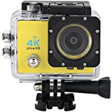 Acouto Action Camera 4K 16MP 30M Waterproof Underwater Sport Camera with Night Vision Flash Vedio Camcorder 170 Degree Wide Angle Wifi Cam with Waterproof Housing Case Accessories kits (yellow)