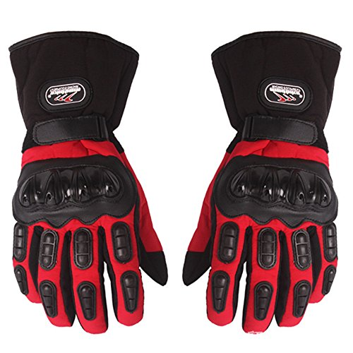 Inf-way Motorcycle Gloves Waterproof Warm Motocross Racing Motos Motorbike Cycling Glove Protective Antiskid Polyester Racing Motorcycle Gloves (Red, XL)