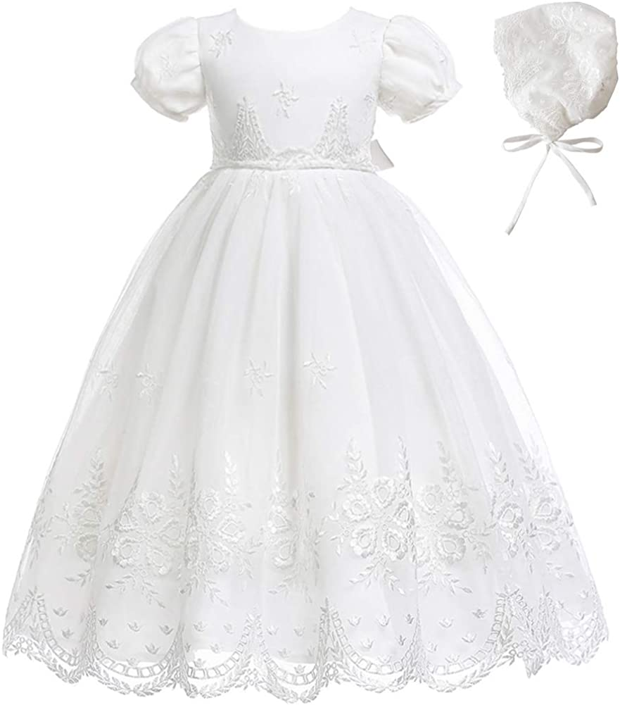 Meiqiduo Baby Girls Lace Party Dresses Infant Princess Wedding Gowns Birthday Formal Dress for Toddler
