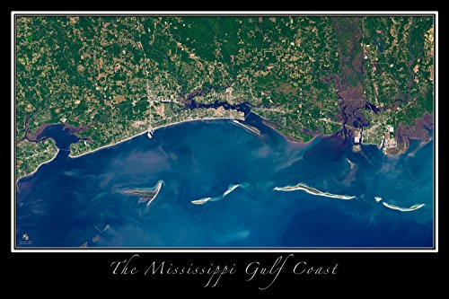 Gulf Coast of Mississippi Satellite Poster Map L 24 x 36 inch (West Gulfport Mississippi)