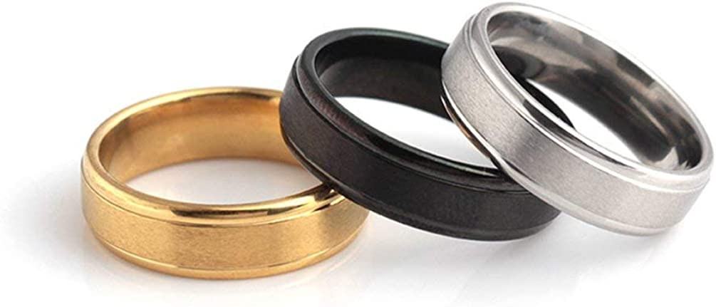 Stainless Steel Ring Band Titanium Silver Black Gold Men Size 7 to 12 Personality Finger Ring Fashion Wedding Party Jewelry Black