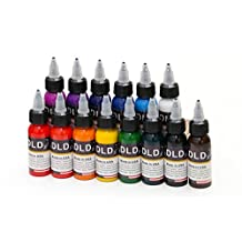 DLD High quality 14Pcs Fusion Tattoo Ink 14 Colors Set 1 oz 30ml/Bottle Tattoo inks Pigment Kit for 3D makeup beauty skin body art