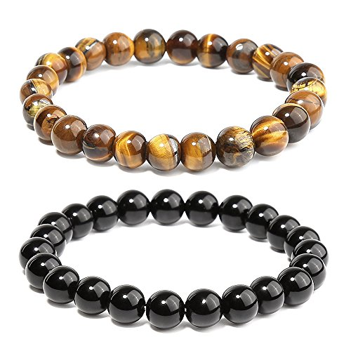 Men Women 2 Pack 8mm Natural Black Onyx & Tiger Eye Semi Precious Black Stone Eye