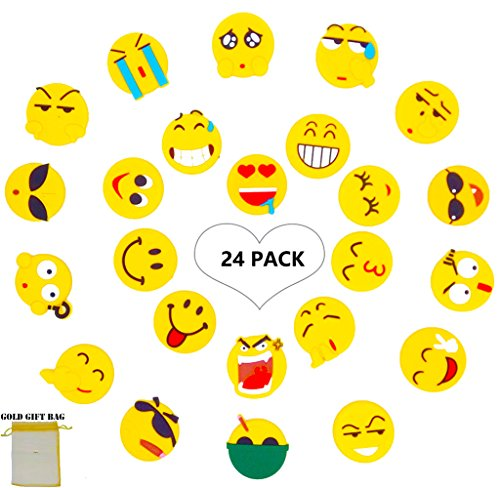 Emoji Fridge Magnets- 24 Set Perfect Funny Decor Magnetic for Map/ Photo/ Calendar/ Locker/ Whiteboard, Office and Refrigerator Magnet- Cute Emoticon Kids Rubber Magnet, Party Favor, Birthday Gift (Birthday Photo Magnets)