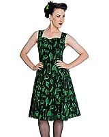 Hell Bunny Anatomy Lace Up Dress Black Green