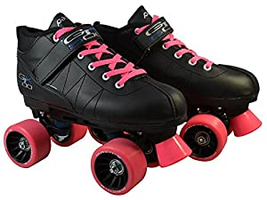 Pacer Mach-5 Pink GTX-500 Black Quad Roller Speed Skates w/ 2 Pairs of Laces (Black & Pink)