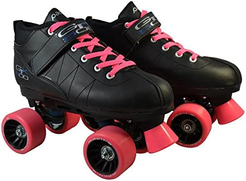 Pacer Mach-5 Pink GTX-500 Black Quad Roller Speed Skates w 2 Pairs of Laces Black Pink