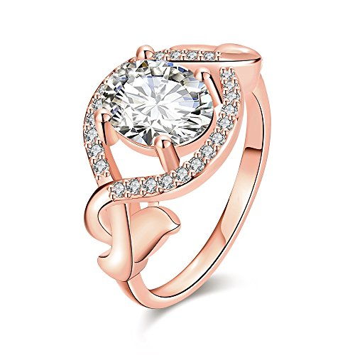 Old Person Couple Costume (Women's New Exquisite Fashion Jewelry Hot Sale Rose Gold Oval Cross Zircon Wedding Ring)