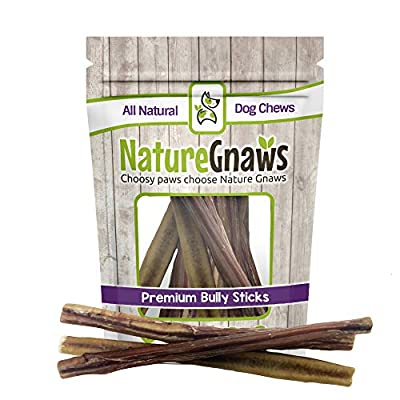 Nature Gnaws Large Bully Sticks - 100% Natural Grass Fed Premium Beef Dog Chews from Torito Brands LLC