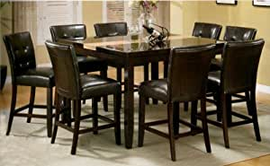 9pc Counter Height Artificial Marble Top Dinette Table w/ 8 Stools