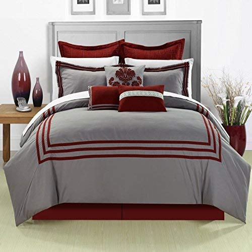 Chic Home Cosmo 8 Piece Comforter Set Embroidered Hotel Collection with Pillow Shams, King Red