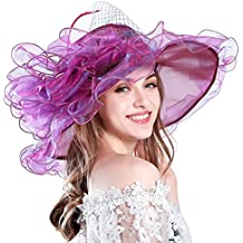 Women's Organza Church Derby Hat Wide Brim Summer Hat Fascinator Bridal Cap