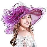 Women's Organza Church Derby Hat Wide Brim Summer Hat Fascinator Bridal Cap