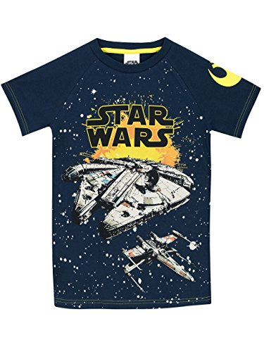 T-shirts Wars For Star Kids - Star Wars Boys Millennium Falcon T-Shirt Size 6 Navy