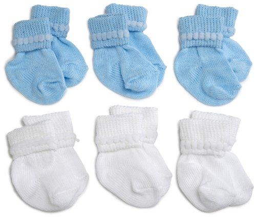 Jefferies Socks Rock-A-Bye Bootie, 6 Pack, White/Blue, 0-9 Months]()