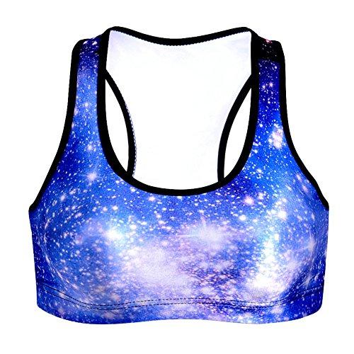 3D Galaxy Sport BH, Moresave Frauen Gepolsterte Yoga BHs Leichtathletik Fitness Stretch Workout Bustier Crop Top Blau