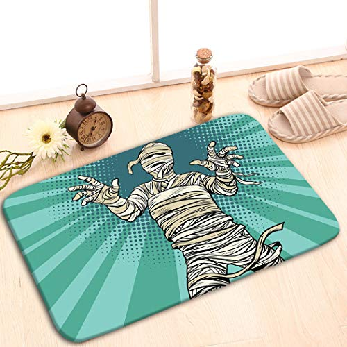 zexuandiy Non-Slip Doormat Non-Woven Fabric Floor Mat Indoor Entrance Rug Decor Mat 23.6 x 15.7 Egyptian Mummy Horror Movie Halloween pop Retro Fanta