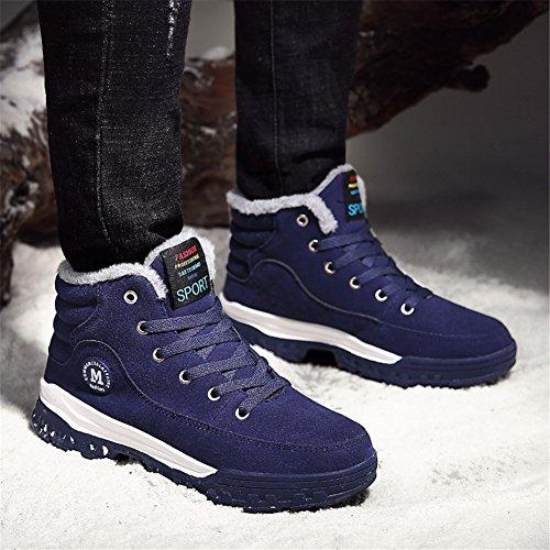 Homme Bottes de Neige Hiver Bottes Cuir Boots Chaussures en avec une Doublure Casual Shoes 755-Blau XvGvp74p