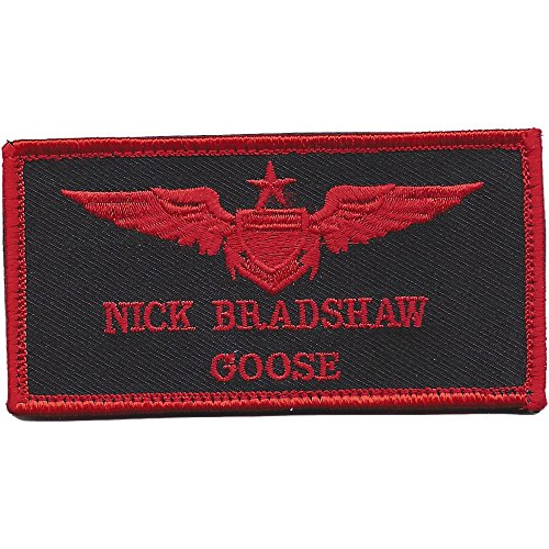 Aviation Pilot Red Wings Black Goose Patch Hook And Loop
