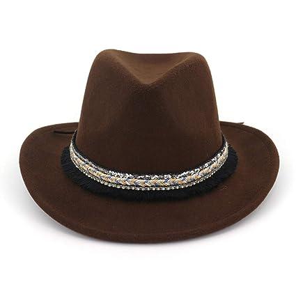 JCH Mujeres Hombre Fedora Lana Algodón Polyster Vaquero Occidental Estilo  Nacional Sombrero para el Invierno Otoño 1200401d255