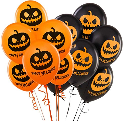 Super Cheap Halloween Decorations (Balloons For Halloween Decoration - 100% Latex - Orange & Black Colors - Scary Frightening Pumpkin Design - 40 Balloons - Celebrate With Family & Friends)