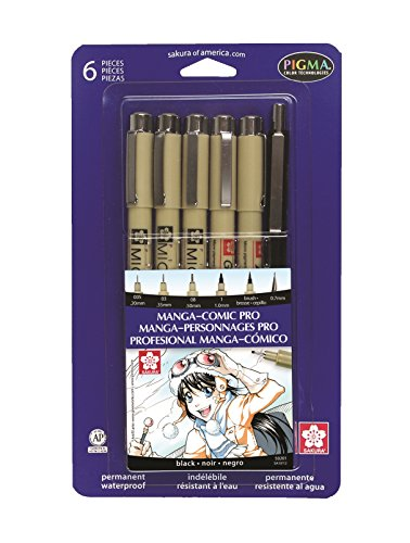 Sakura 50201 6-Piece Pigma Manga Comic Pro Drawing Kit
