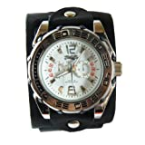 "(WBL001) 2"" Wide Handmade Black Punk Rock Biker Leather Cuff Wrist Watch Band - Adjustable"