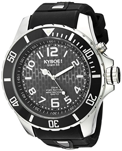 KYBOE! 'Power' Quartz Stainless Steel and Silicone Casual Watch, Color:Black (Model: KY.55-002.15)