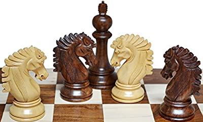 "Dragon Knight Chess Set 32 chess Pieces King 4"" + Chess Box 20X20 inch"