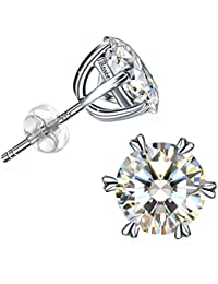 925 Sterling Silver High Polished Round Cut 6 Prong Cubic Zirconia Small Stud Earrings