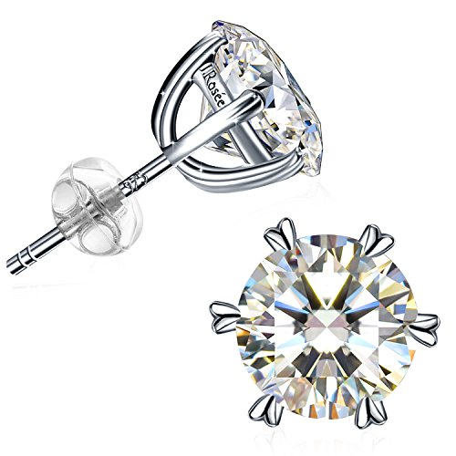 (J.Rosée Earring With 925 Sterling Silver High Polished Round Cut 6 Prong Cubic Zirconia Small Stud Earrings Jewelry Gifts for Women Mother's Day)