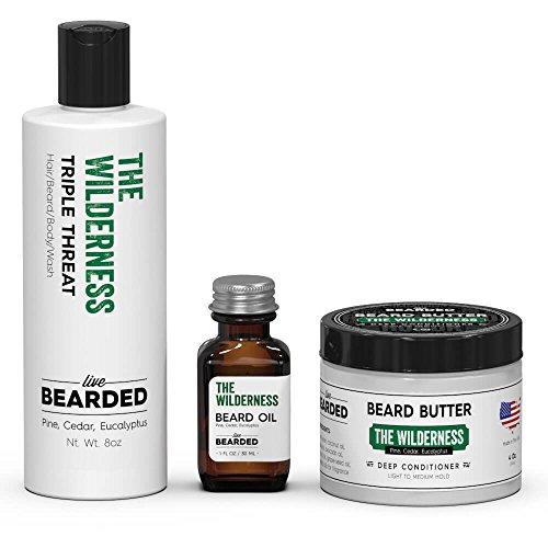 Live Bearded Pine, Cedar, Eucalyptus Beard Kit, Wilderness Beard Bundle